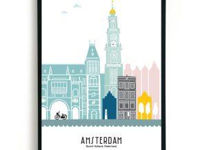 gekleurde Amsterdam poster